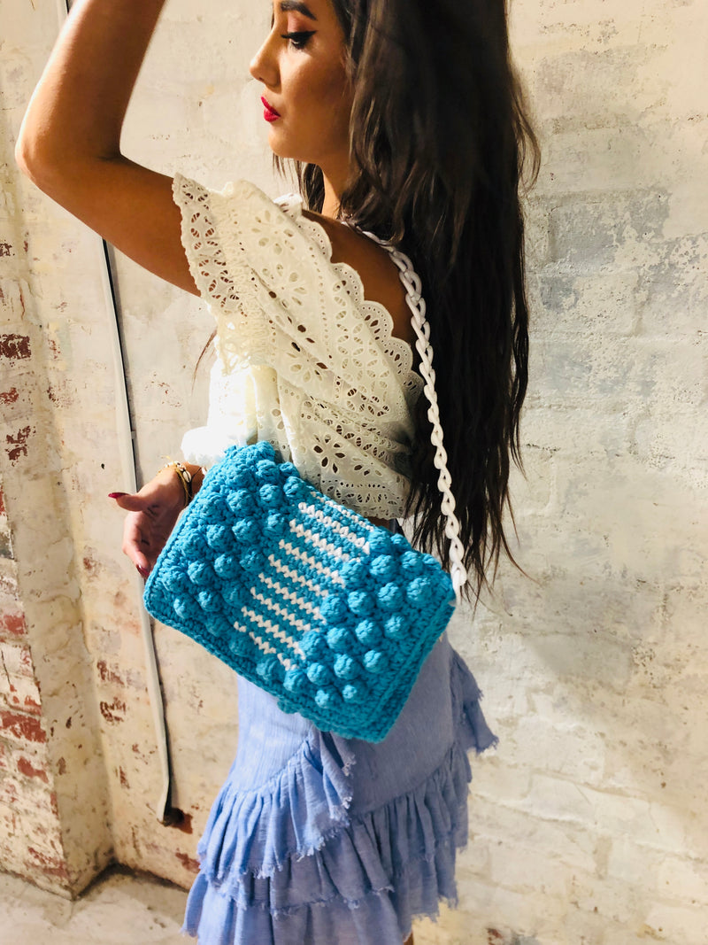 Bubble Crochet Bag - Aqua