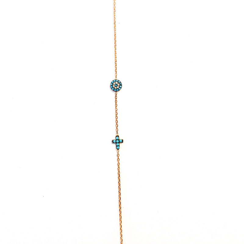 Turquoise Eye and Cross Rose Gold Bracelet