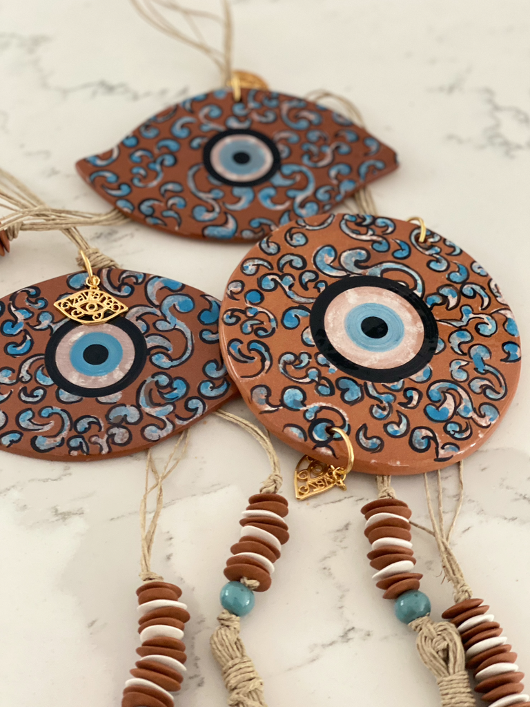 Terracotta Eye Ceramic House Charm 2