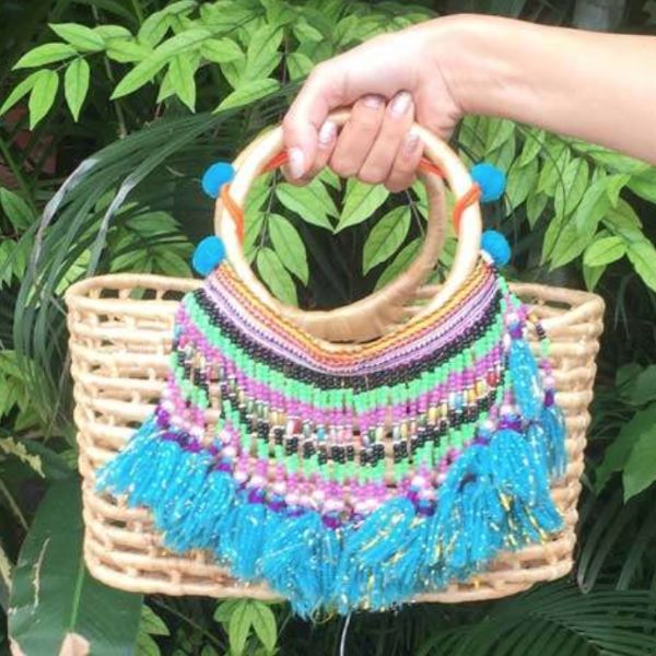 Small Straw Bag with Beading