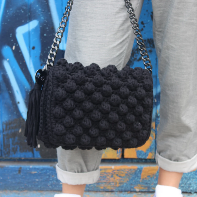 Bubble Crochet Bag - Black