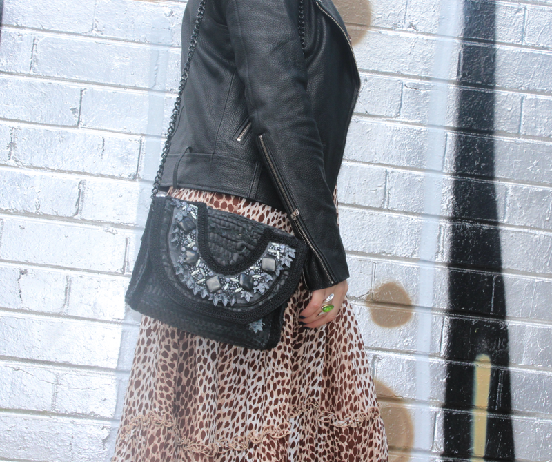 Koa Leather Beaded Black Bag