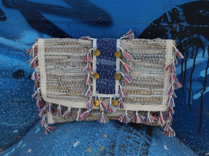 Leather Kourelou Beige and Blue Clutch
