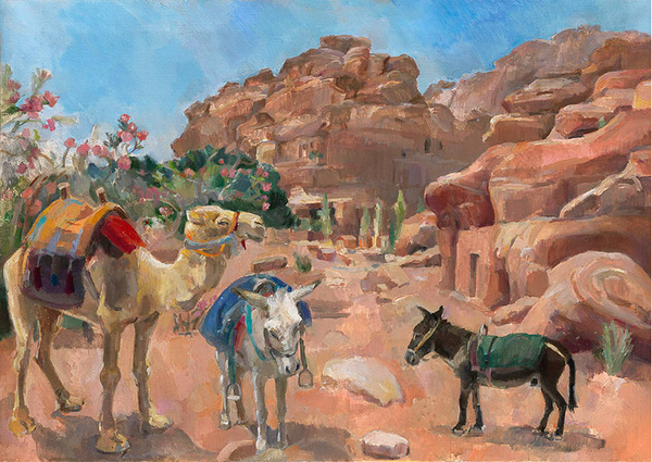 Lot 1B: Camel and Two Donkeys, Petra Jordan, Natasha Lien