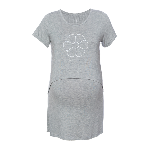 DooDooMooky Maternity & Nursing T-Shirt Mooky Flower Grey