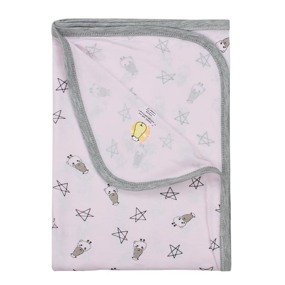 Single Layer Blanket Small Star & Sheepz Pink