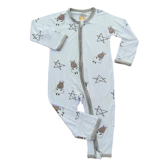 Romper Zip Big Star & Sheepz Blue with Grey Border