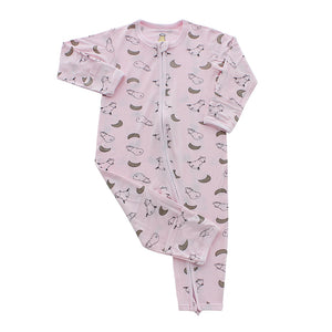 Romper Zip Small Moon & Sheepz Pink