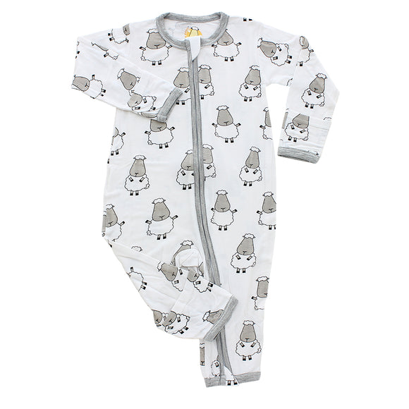 Romper Zip Big Sheepz White with Grey Border