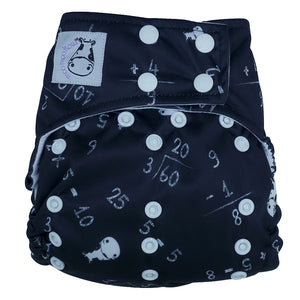 Cloth Diaper One Size Snap - Maths Black