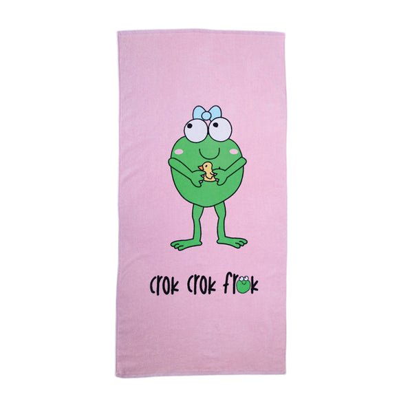 CrokCrokFrok Bath Towel Crok Girl - Pink with Purple - Small