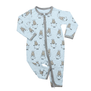Romper Zip Big Sheepz Blue with Grey Border