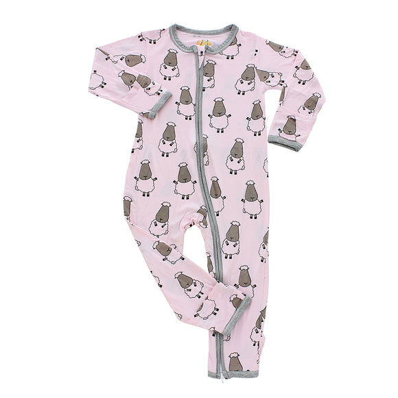 Romper Zip Big Sheep Pink with Grey Border