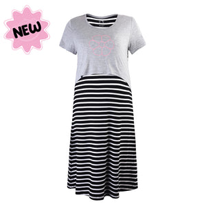 DooDooMooky Maternity & Nursing Dress Grey Top with Black Striped Dress