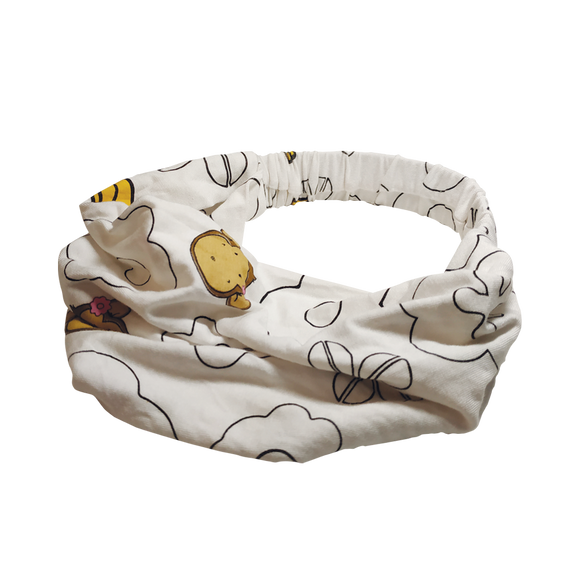 DooDooMooky - Hair Band - Mooky Flower White with Banana Yellow - Wide