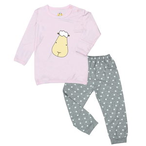 Pyjamas Set Pink Big Face + Grey Polka Dot