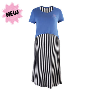 DooDooMooky Maternity & Nursing Dress Navy Top with Black Striped Dress
