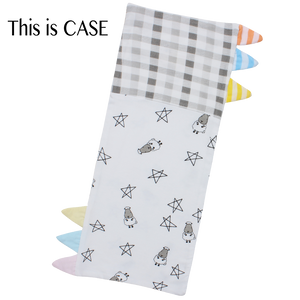Bed-Time Buddy™ Case Small Star & Sheepz White + Checkers Grey with Color & Stripe tag - Small