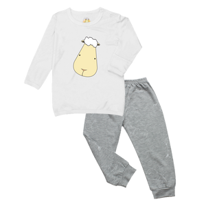 Pyjamas Set Big Face White + Big Moon & Sheepz Grey