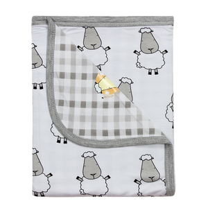 Double Layer Blanket Big Sheepz White + Checkers Grey - 36M