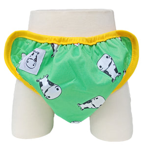 One Size Swim Diaper Lucky Kow Green with Yellow Border
