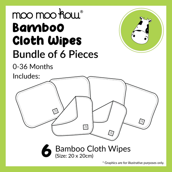 Moo Moo Kow Bamboo Cloth Wipes (Bundle of 6)