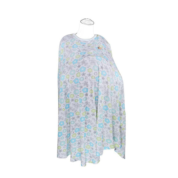 DooDooMooky Bamboo Nursing Cover Poncho Type Mooky Flower White with Blue & Green Flower