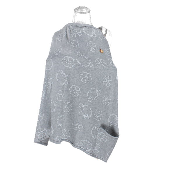 DooDooMooky Bamboo Nursing Cover Apron Type Adjustable size Grey Mooky Flower