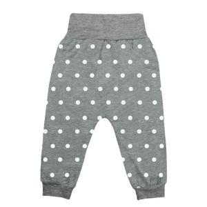 Long Pant with Foldable Waist Polka Dot Grey