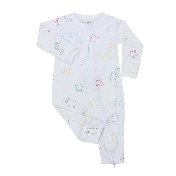 Romper Zip Colourful Moon & Star White