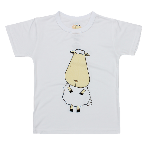 Unisex Short Sleeve T-Shirt Front & Back Sheepz White