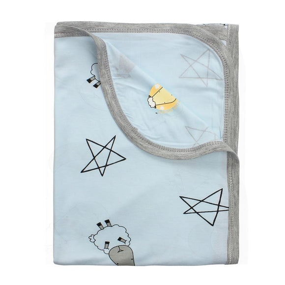 Single Layer Blanket Big Star & Sheep Blue - 36M