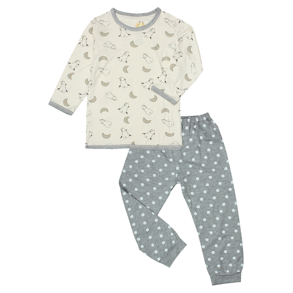 Pyjamas Set Small Moon & Sheepz Yellow + Polka Dot Grey