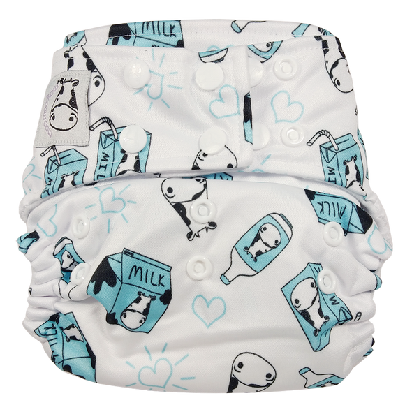 Cloth Diaper One Size Snap - Milk Milk