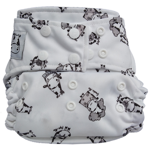 Cloth Diaper One Size Snap - Moo Family White Button