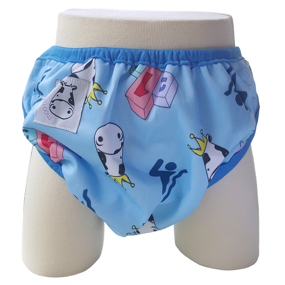 One Size Swim Diaper Swim with Blue Border