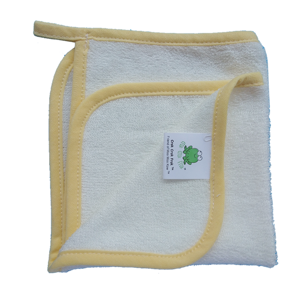 CrokCrokFrok Bamboo Wash Cloth - White with Yellow Border