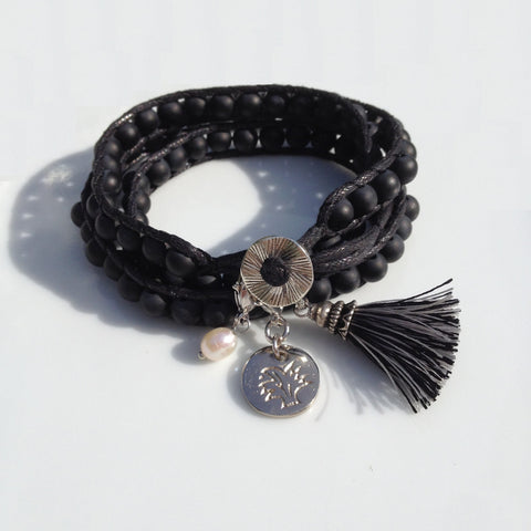 Wrap armband met Waxed Cord Onyx | Strength