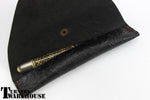 Floral Pen Case -  Brown & Black Leather