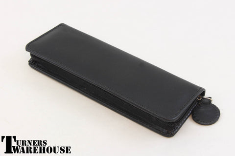 Zippered Pen Case - Black Leatherette