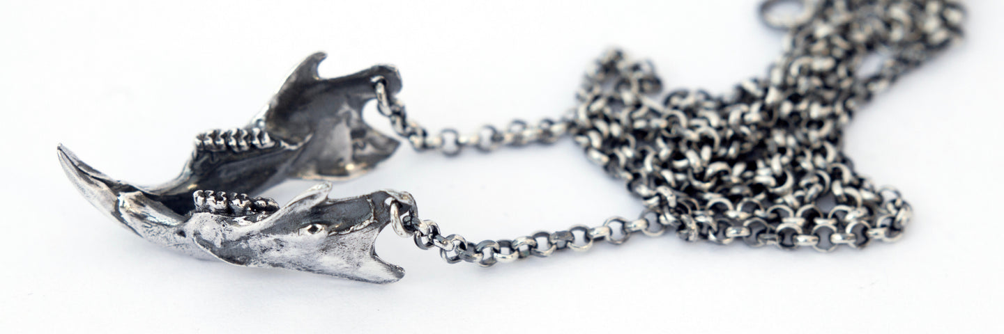 oxidised rat skull jaw necklace sterling silver