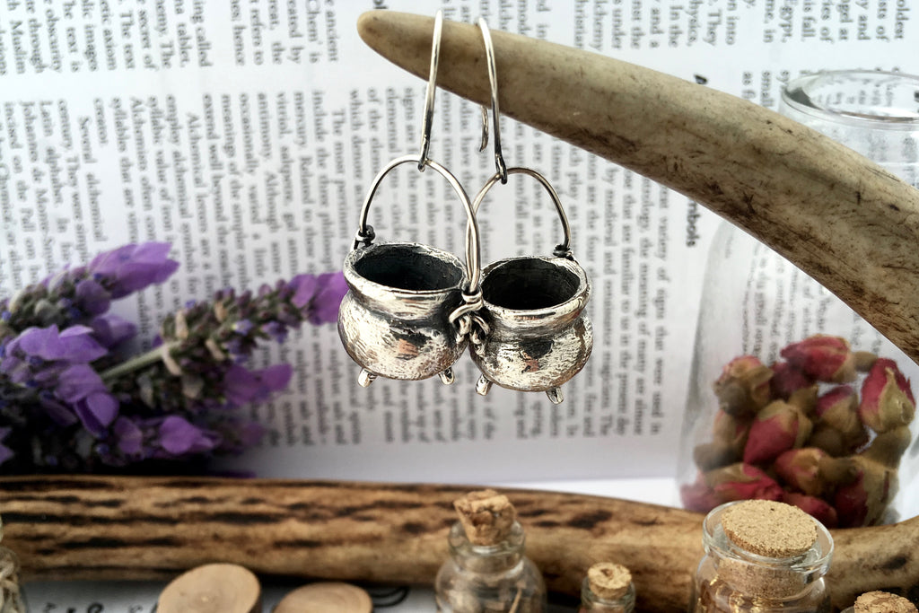 Zoë Ace Metal cauldron earrings witchy jewelry