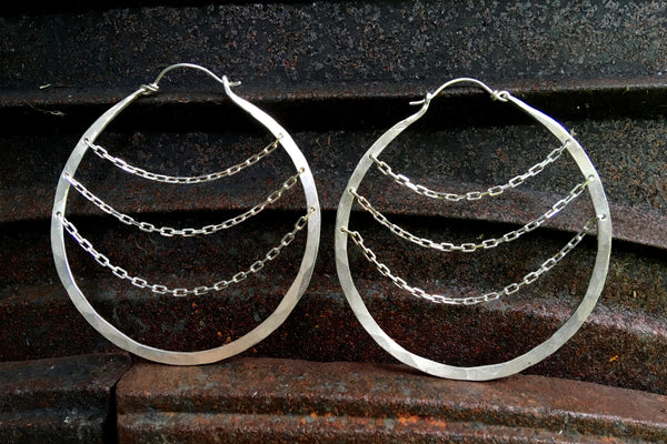 sterling silver hoops with chain zoe ace metal