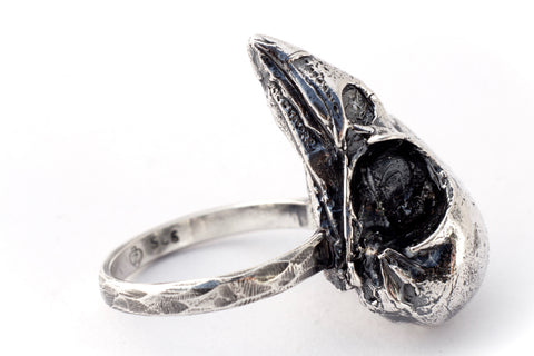 Oxidised sterling silver bird skull ring