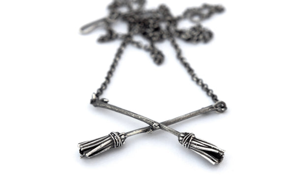 Oxidised sterling silver crossed broomstick necklace