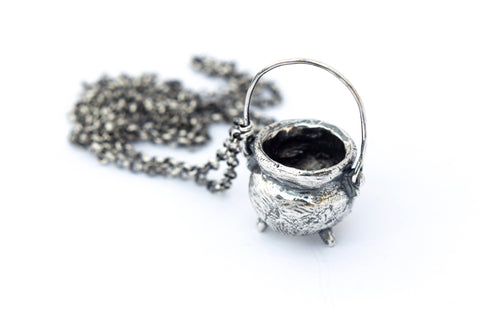 Oxidised sterling silver cauldron necklace