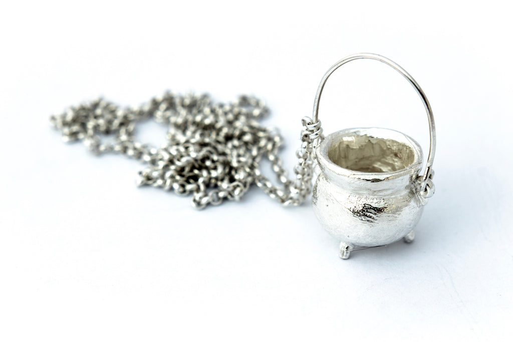 Sterling silver cauldron necklace