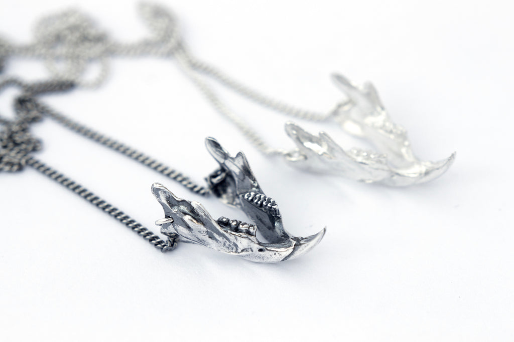 Sterling silver rat jaw necklaces