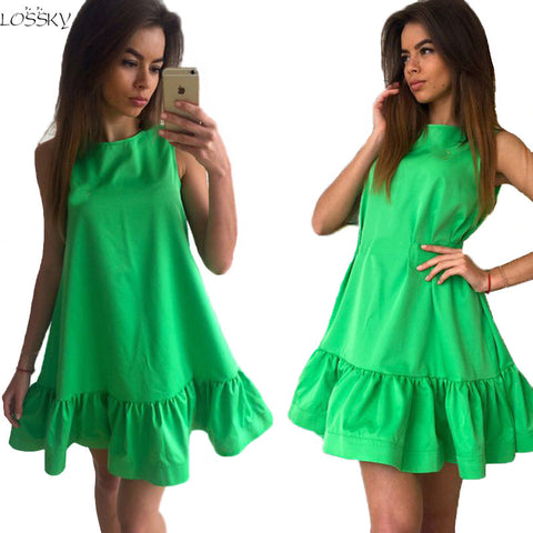 Sexy Ruffles Dress Summer Sleeveless Casual A Line Bodycon Dress Women Party Mini Dresses