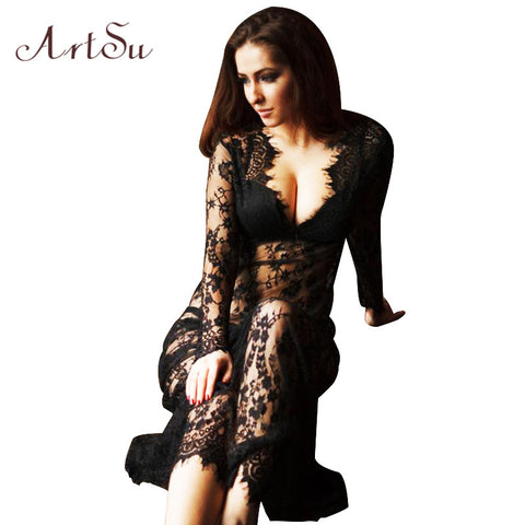 ArtSu Women Floor-Length Black White Summer Lace Dress Adjust Waist Sexy See Through Hollow Out